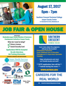 Jasper County JOB FAIR @ Southern Crescent Technical College | Monticello | Georgia | United States